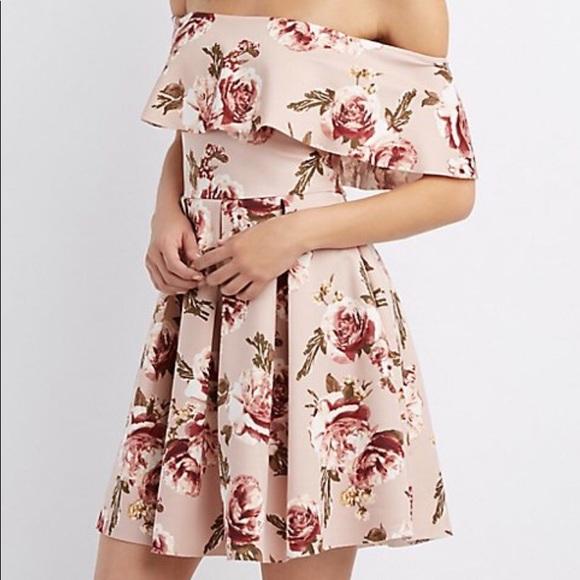 e234af81607 Floral Off the Shoulder Skater Dress